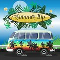 Summer Journey on a large painted minibus vector flyer