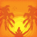 Summer tropical background with girl in yoga Royalty Free Stock Photo