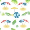 Summer tropical holiday. Seamless vector pattern with tropical leaves, palms, umbrellas. On white background.