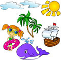 Summer tropical set palms ship whale and girl vector illustration Royalty Free Stock Image