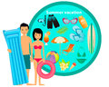Summer tropical vacation beach accessories vector illustration Stock Photo