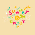 Summer typographic illustration with hand drawn letters Stock Photo