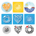Summer typographic logo,icons,label set.Template Royalty Free Stock Photo