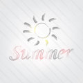 Summer typography background in retro style with a sun and label Royalty Free Stock Photography