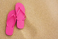 Summer vacation background sandals on beach Royalty Free Stock Photo