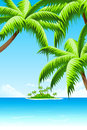 Summer vacation background with sea clouds island and palm tree Stock Photo
