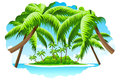 Summer vacation background with sea clouds island and palm tree Stock Photography