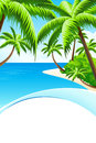 Summer vacation background with sea clouds and palm tree Stock Photos