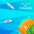 Summer vacation background welcome to paradise time travel beach rest vector and objects illustrations Royalty Free Stock Image