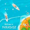 Summer vacation background welcome to paradise time travel beach rest vector and objects illustrations Royalty Free Stock Photos