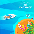 Summer vacation background welcome to paradise time travel beach rest vector and objects illustrations Stock Image