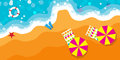 Summer vacation background welcome to paradise time travel beach rest vector and objects illustrations Royalty Free Stock Images