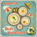 Summer Vacation Card in Vintage Style Royalty Free Stock Photo