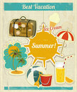 Summer vacation card vintage style retro travel postcard summer items old style illustration Stock Photo