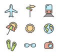 Summer vacation colored icons set 01
