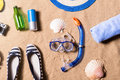 Summer vacation composition. Shoes, goggles and other stuff, bea Royalty Free Stock Photo