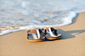 Summer vacation concept flip flops sandy ocean beach Stock Images
