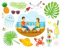 Summer Vacation, Couple Eating near Sea Shore Royalty Free Stock Photo