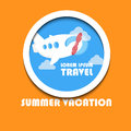 Summer vacation creative poster with plane, clouds, sky and text Royalty Free Stock Photo