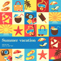 Summer vacation design template card vector background Royalty Free Stock Images