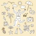 Summer vacation doodle illustrations set