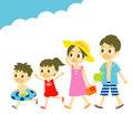 Summer vacation family young in swim wear smiling file Stock Photography