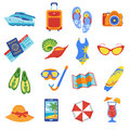 Summer vacation flat icons collection Royalty Free Stock Photo
