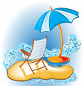 Summer vacation holiday decorative background with umbrella and chair Royalty Free Stock Image