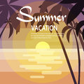 Summer Vacation Holiday Tropical Sunset Ocean Island With Palm Tree Royalty Free Stock Photo