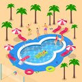 Summer vacation in hotel resort. Vector 3d isometric illustration. Summer pool party design elements