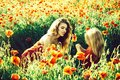 Summer vacation. mothers day, girl and little boy in field of poppy Royalty Free Stock Photo