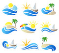 Summer vacation in nature icon set with palm tree an sea symbols Stock Image