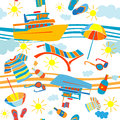 Summer vacation pattern seamless with barge and beach objects over waves Stock Photo