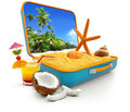 Summer vacation sand and shells in a suitcase on white background Stock Photo