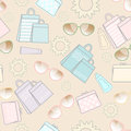 Summer vacation seamless background design sun sunglasses sunscreen pretty handbags shopping bags fresh pastel colours scattered Stock Photography