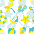 Summer vacation seamless pattern vector with symbols Royalty Free Stock Photo