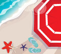 Summer vacation at the seaside overhead illustration depicting a with a colourful red beach umbrella above starfish and thongs Stock Photography