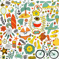 Summer vacation set doodle elements, seamless pattern