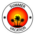 Summer vacation stamp on white background Stock Photos