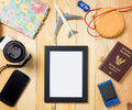 Summer vacation stuffs with blank photo frame Royalty Free Stock Photo
