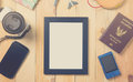 Summer vacation stuffs with blank photo frame for copy space Royalty Free Stock Photo