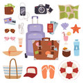 Summer vacation symbols beach travel holiday tourism set flat vector illustration. Royalty Free Stock Photo