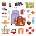 Summer vacation symbols beach travel holiday tourism set flat vector illustration. Royalty Free Stock Photo