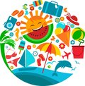 Summer vacation; template of summer icons Stock Photos