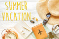 Summer vacation text, time to travel concept, space for text. ma Royalty Free Stock Photo