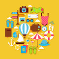 Summer Vacation and Travel Vector Flat Design Circle Shaped Obje