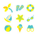Summer vacation vector set icons with symbols Royalty Free Stock Photos