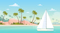 Summer Vacation Yacht Sail Sea Shore Sand Beach Royalty Free Stock Photo