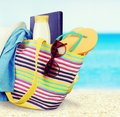 Summer vacations beach bag sunglasses isolated fun suntan lotion flip flop Royalty Free Stock Image