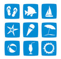 Summer vacations icon set Stock Photography